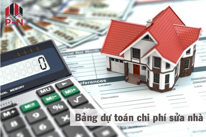 bảng dự toán chi phí sửa chữa nhà ở